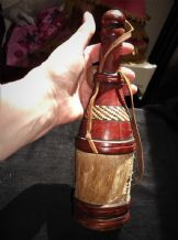 VINTAGE LEATHER CLAD & WOVEN RAFFIA GREEN GLASS BOTTLE WOODEN STOPPER + STRAP